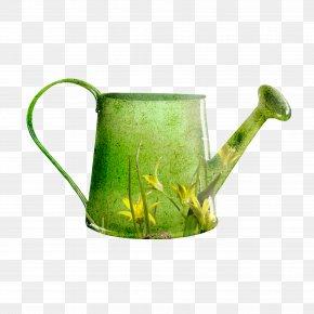 Green Flower Watering Can - Watering Can Garden Flower Clip Art PNG