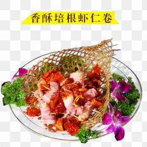 Bacon Crispy Shrimp Roll - Asian Cuisine Seafood Spring Roll Prawn Roll Vegetarian Cuisine PNG