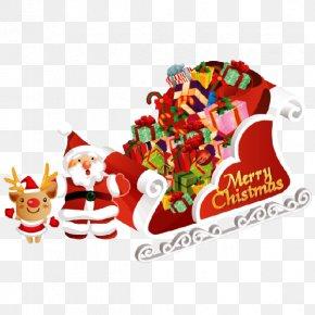 Santa Claus Carries A Gift - Desktop Wallpaper Santa Claus Royal Christmas Message Wish PNG