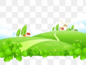 Cartoon Vector Painted Grass Green House Plants PNG