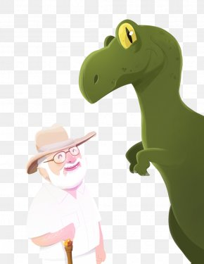 Dinosaurs And Grandfather - Cartoon Download Illustration PNG