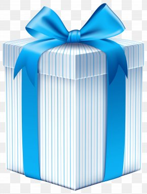 Gift Box With Blue Bow Clipart Image - Gift Box Ribbon Clip Art PNG