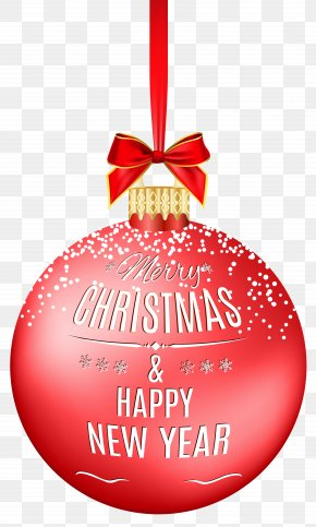 Merry Christmas Ball Transparent Clip Art Image - Christmas Ornament New Year Clip Art PNG