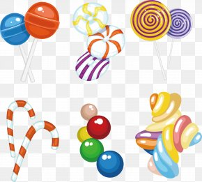 Vector Hand-painted Lollipop Candy Cane And Cotton Candy - Candy Cane Lollipop Fruit Preserves PNG