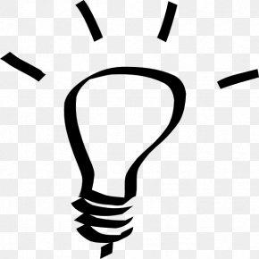 Black And White Light Bulb - Incandescent Light Bulb Electric Light Lighting Clip Art PNG