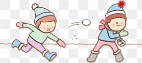 Play Playing In The Snow - Cartoon Pink Child Line Playing In The Snow PNG