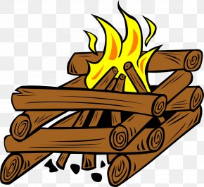 Burning Wood - Log Cabin Campfire Camping Clip Art PNG