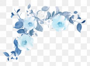 Blue Flower Border Texture - Flower 1080p Clip Art PNG