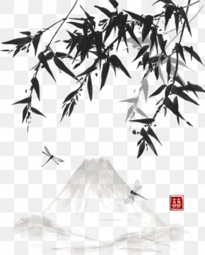 Vector Chinese Painting Style Bamboo Material - Ink Wash Painting Chinese Painting Drawing Landscape Painting PNG