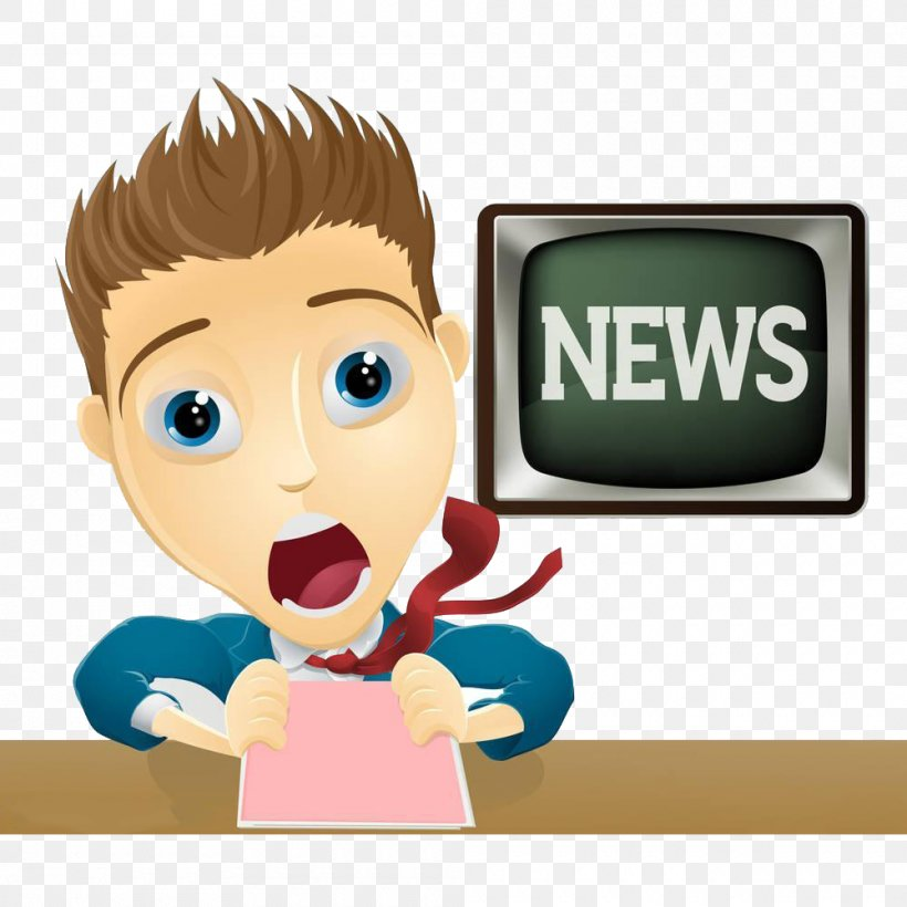 News Presenter Television Cartoon Illustration, PNG, 1000x1000px, News Presenter, Boy, Broadcaster, Cartoon, Cheek Download Free