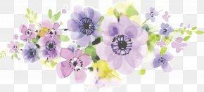 Hand Painted Watercolor Purple Romantic Flowers - Floral Design Flower Floristry Business Card Purple PNG
