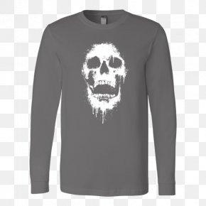 Skull T-shirt - Long-sleeved T-shirt Clothing PNG