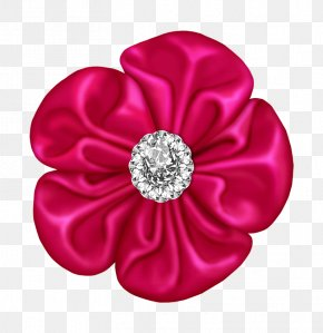 Pink Flower Bow With Diamond - Black Flower Clip Art PNG