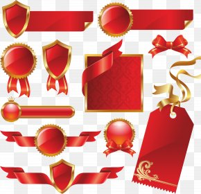 Red Ribbon - Paper Red Ribbon Label PNG