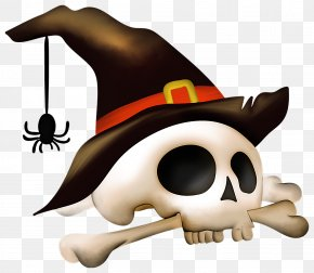 Halloween Skull With Bone And Witch Hat Clipart - Halloween Icon Clip Art PNG