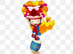 Lion Dance Boy - Lion Dance Chinese New Year Cartoon PNG