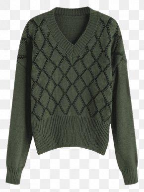 Argyle Sweater - Cardigan Neck Wool PNG