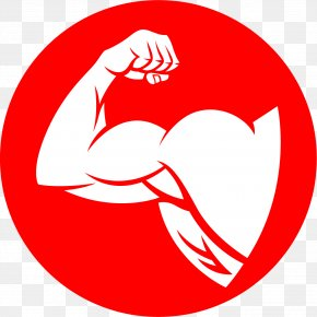 Fitness Red Icon - Arm Muscle Cartoon Clip Art PNG