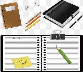Pencil Clip Notebook - Paper Notebook Notepad Icon PNG