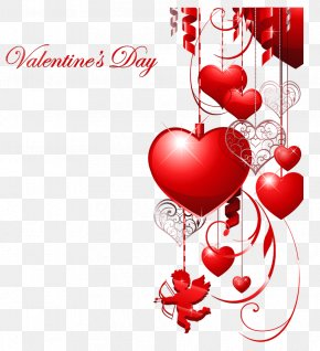 Valentines Day Decor With Hearts And Cupid Clipart - Valentine's Day Heart Clip Art PNG
