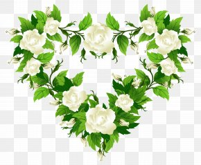 White Roses Heart Decor Clipart Picture - Rose Heart White Clip Art PNG