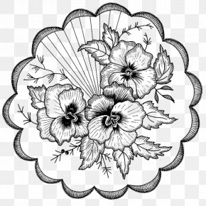 Classical Floral Decorative Pattern - Drawing Embroidery Motif Coloring Book Pattern PNG