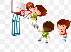 Kids Playing Basketball - Basketball Cartoon Sport Clip Art PNG