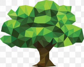 Low Poly - Triangle Polygon Low Poly Art Tree PNG