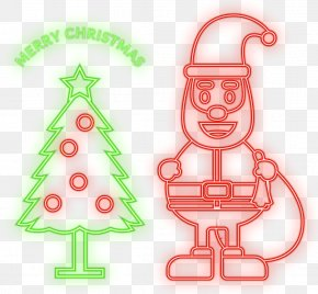 Vector Neon Christmas Tree Santa Claus - Santa Claus Christmas Tree Euclidean Vector PNG