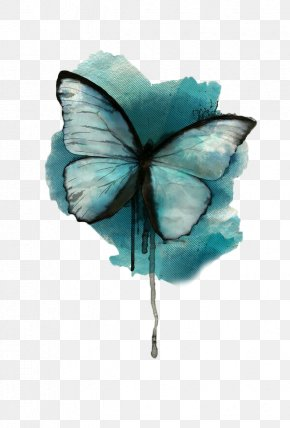 Blue Butterfly - Butterfly Watercolor Painting Tattoo Drawing PNG
