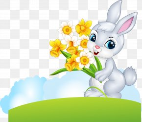 Vector Bunny Holding Flower - Easter Bunny Cartoon Illustration PNG