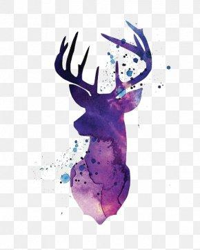 Purple Watercolor Deer - Reindeer White-tailed Deer Silhouette Watercolor Painting PNG