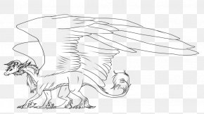Dragon Line Art - Carnivora Line Art Cartoon White Sketch PNG