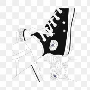 Converse Canvas Shoes - Converse Drawing Art Outline Sketch PNG