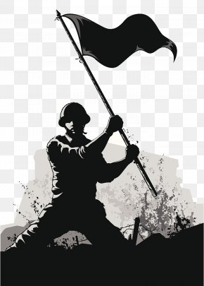 Army PPT Soldier Black And White Silhouette Illustration - Soldier Army Euclidean Vector PNG