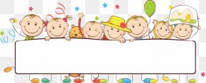 Cartoon Kids - Banner Child Illustration PNG