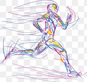 Vector Hand-drawn Line Running Man - Running Sport PNG
