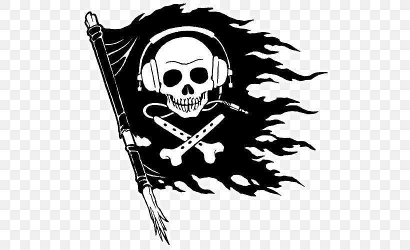 Piracy Jolly Roger Clip Art, PNG, 500x500px, Piracy, Art, Black And White, Bone, Computer Software Download Free