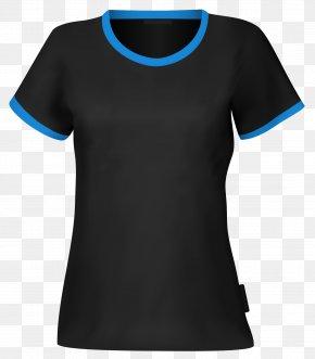 Black Blue Collar T-shirt Vector - T-shirt Blue Sleeve PNG