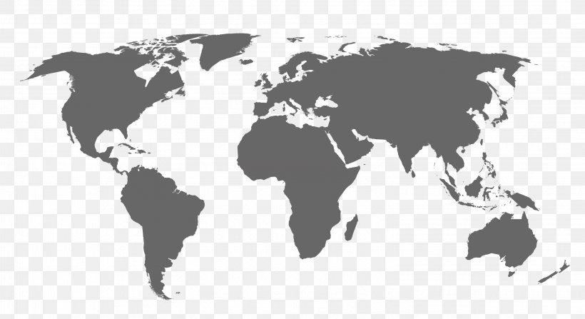 World Map Clip Art, PNG, 3047x1662px, World, Black And White, Geography, Map, Mural Download Free