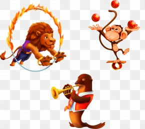 Vector Circus Animals Lion Monkey Sea Lions - Juggling Circus Monkey Royalty-free PNG