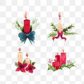 Painted Candle Water Festival - Watercolor Painting Christmas PNG