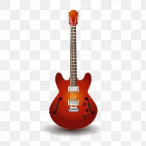 Vector Material Red Guitar - Electric Guitar Epiphone Dot Acoustic Guitar Bass Guitar PNG
