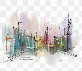 City - Stock Photography Drawing Watercolor Painting PNG
