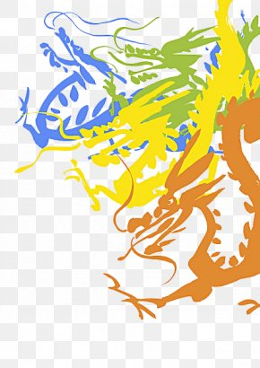 Hand Painted Four Colored Dragon - Colorful Dragon Chinese Dragon Clip Art PNG