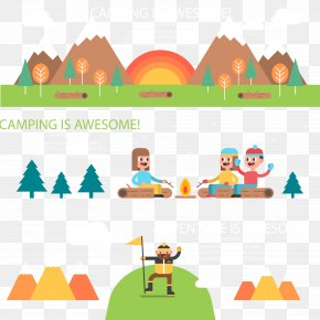 Creative Camping Banner Vector Material PNG