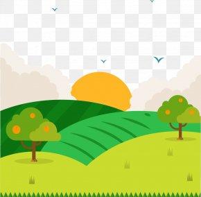 Spring Field - Green Cartoon Euclidean Vector Wallpaper PNG