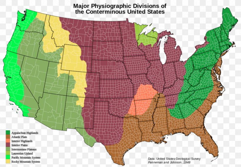 United States Of America Physiographic Regions Of The World ...