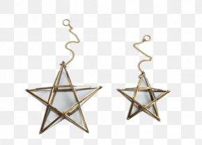 Antique Window - Glass Star Brass Earring Gold PNG