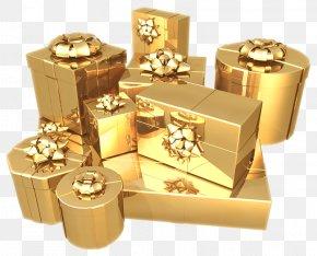 Gift - Christmas Gift Gold Illustration PNG